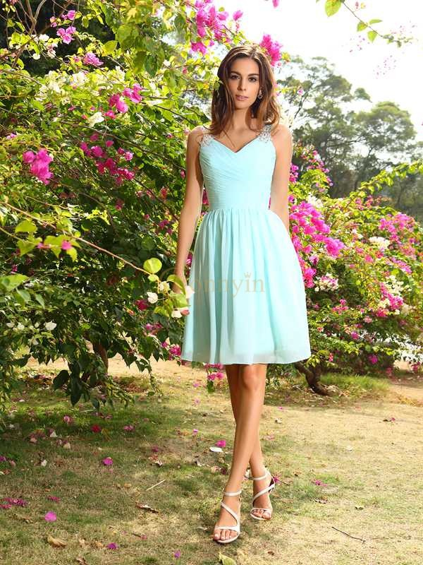 Sage Chiffon Straps A-Line/Princess Knee-Length Bridesmaid Dresses