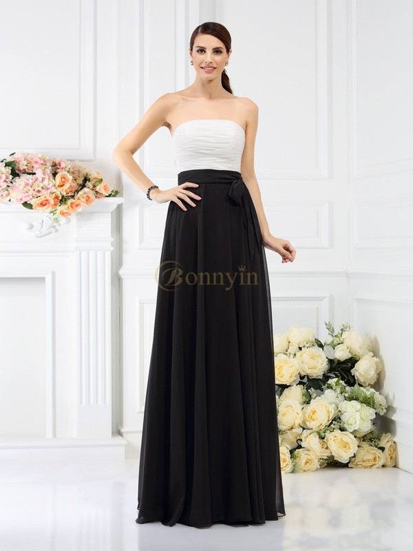 Black Chiffon Strapless A-Line/Princess Floor-Length Bridesmaid Dresses