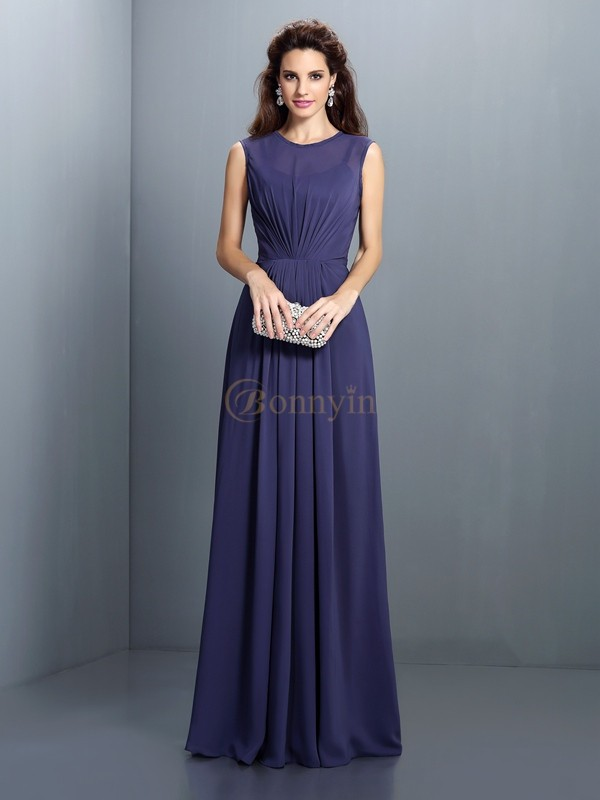 Dark Navy Chiffon High Neck A-Line/Princess Floor-Length Bridesmaid Dresses