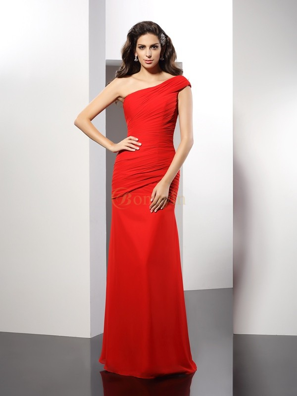 Red Chiffon One-Shoulder Sheath/Column Floor-Length Dresses