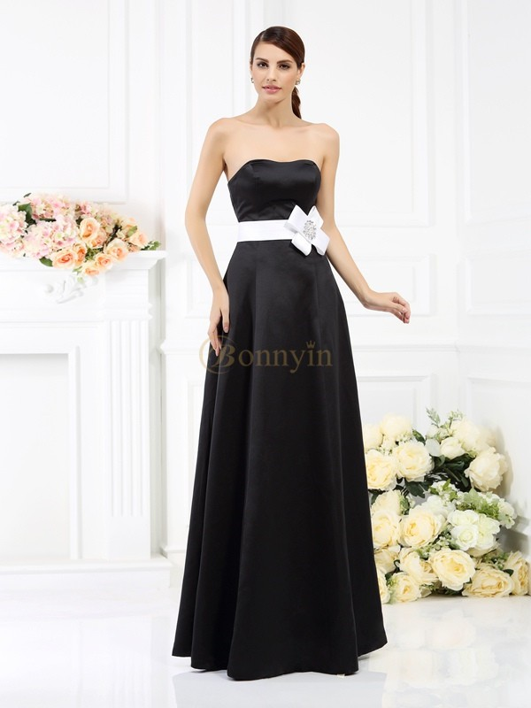 Black Satin Strapless A-Line/Princess Floor-Length Bridesmaid Dresses
