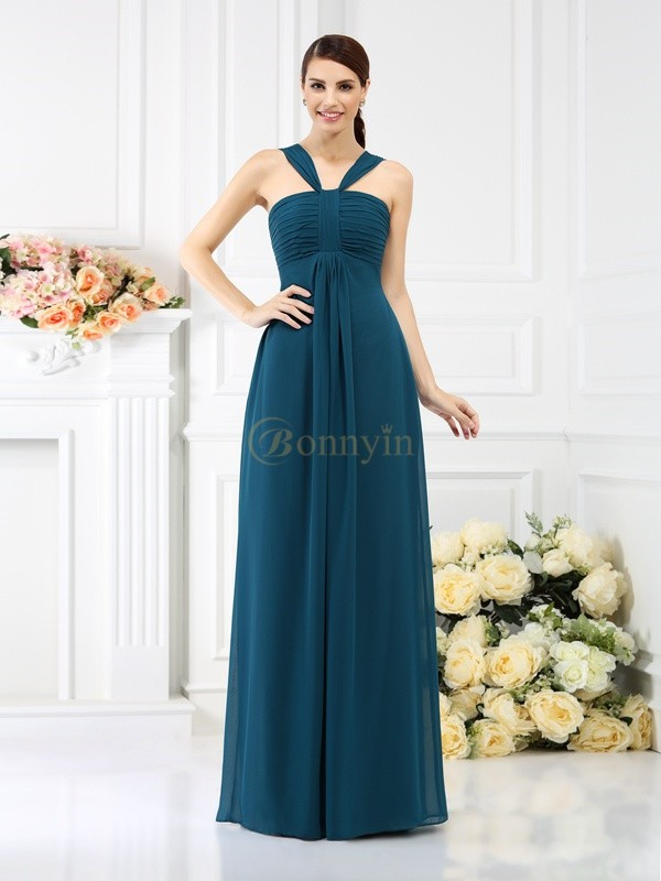 Dark Green Chiffon Straps A-Line/Princess Floor-Length Bridesmaid Dresses