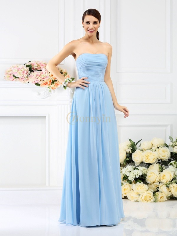 Light Sky Blue Chiffon Strapless A-Line/Princess Floor-Length Bridesmaid Dresses