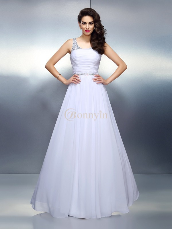 White Chiffon Scoop A-Line/Princess Floor-Length Dresses