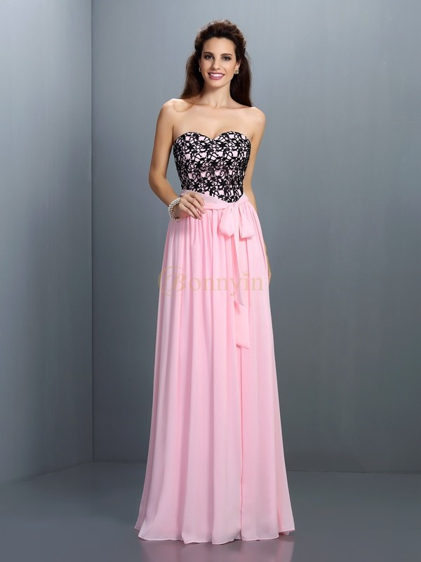 Pink Chiffon Sweetheart A-Line/Princess Floor-Length Dresses