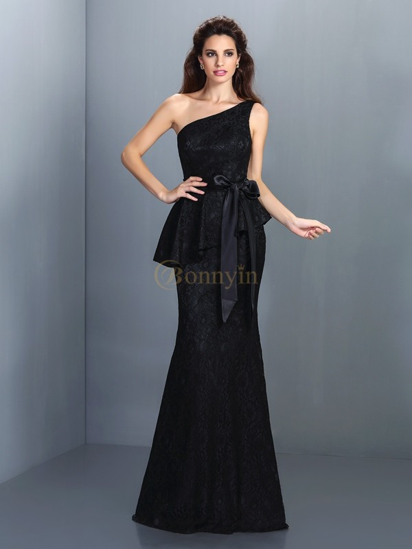 Black Satin One-Shoulder Trumpet/Mermaid Floor-Length Bridesmaid Dresses