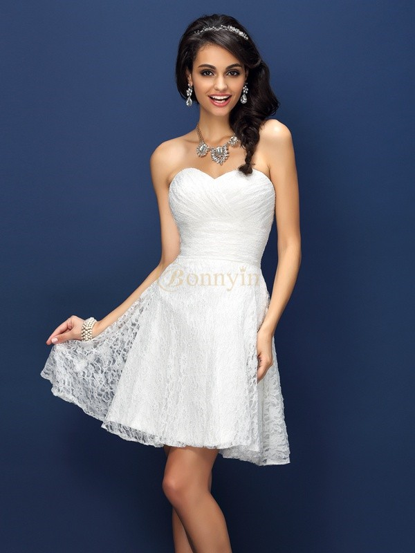 White Satin Sweetheart A-Line/Princess Short/Mini Bridesmaid Dresses