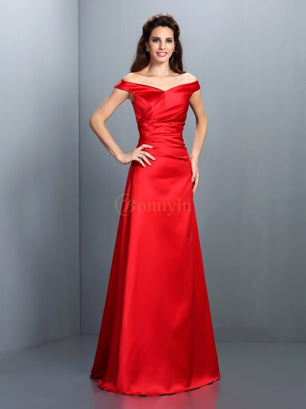 Red Chiffon Off-the-Shoulder Sheath/Column Floor-Length Bridesmaid Dresses