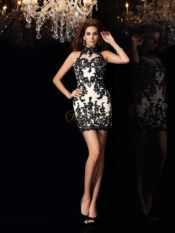 Champagne Chiffon High Neck Sheath/Column Short/Mini Dresses