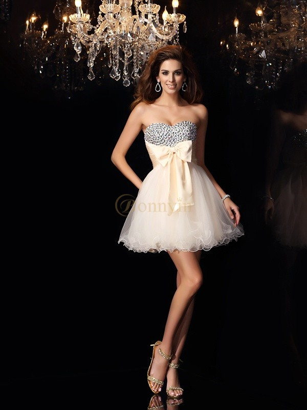 Champagne Chiffon Sweetheart A-Line/Princess Short/Mini Dresses