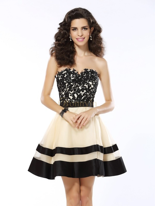 Black Organza Sweetheart A-Line/Princess Short/Mini Dresses