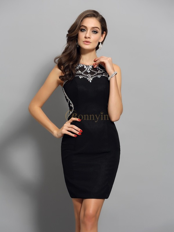 Black Chiffon Scoop Sheath/Column Short/Mini Dresses