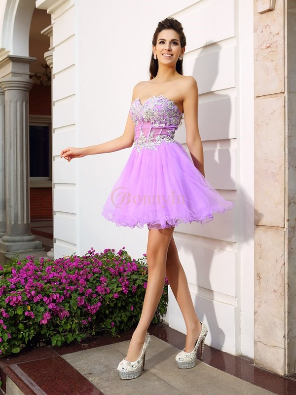 Fuchsia Organza Sweetheart A-Line/Princess Short/Mini Dresses