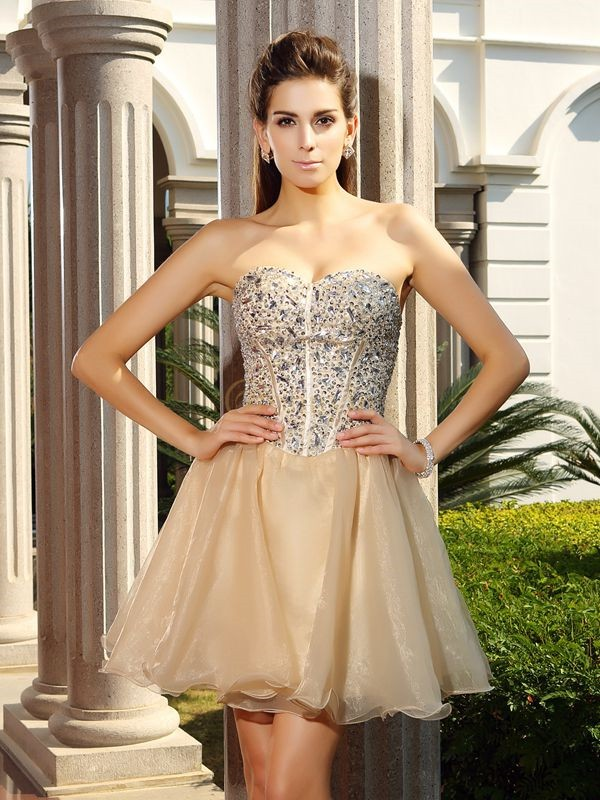 Champagne Organza Sweetheart A-Line/Princess Short/Mini Dresses
