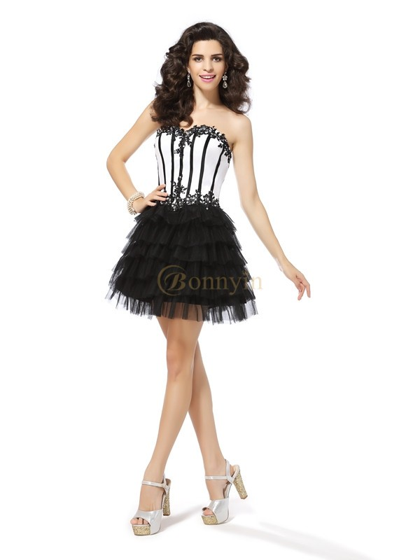Black Tulle Sweetheart A-Line/Princess Short/Mini Dresses