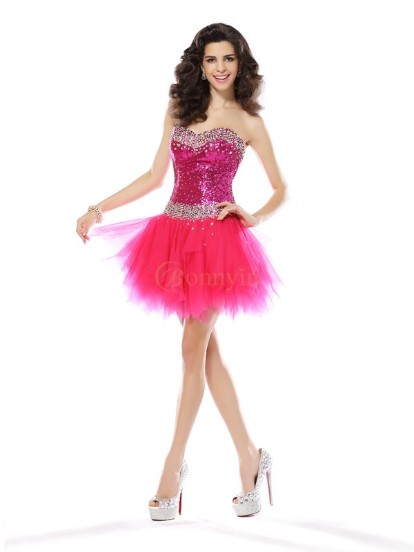 Fuchsia Net Sweetheart A-Line/Princess Short/Mini Dresses
