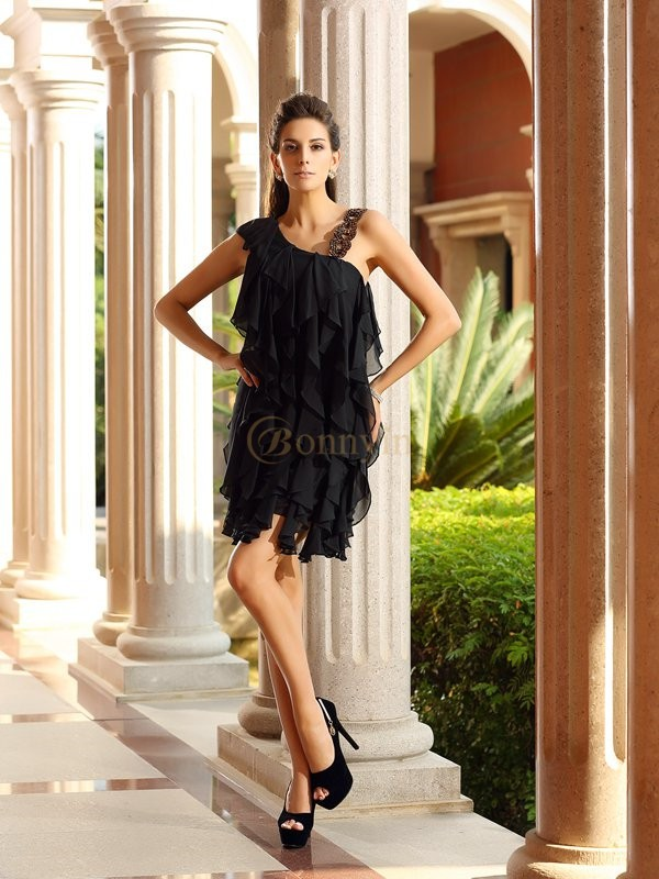 Black Chiffon A-Line/Princess Short/Mini Dresses