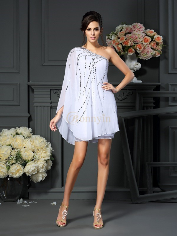 White Chiffon One-Shoulder A-Line/Princess Short/Mini Mother of the Bride Dresses