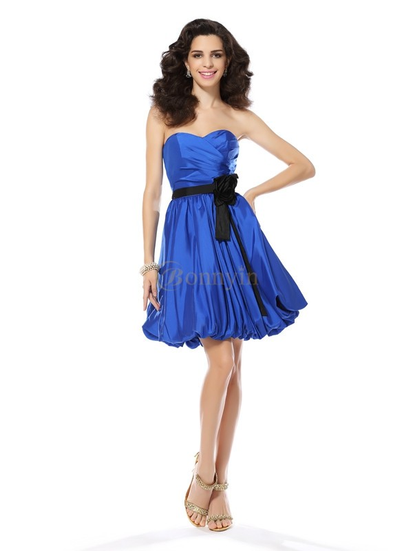 Royal Blue Taffeta Sweetheart A-Line/Princess Short/Mini Dresses