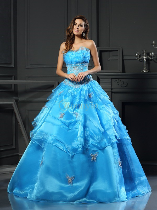 Blue Organza Sweetheart Ball Gown Floor-Length Prom Dresses