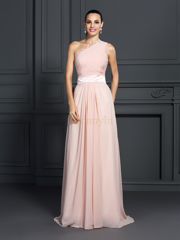 Pink Chiffon One-Shoulder A-Line/Princess Sweep/Brush Train Dresses