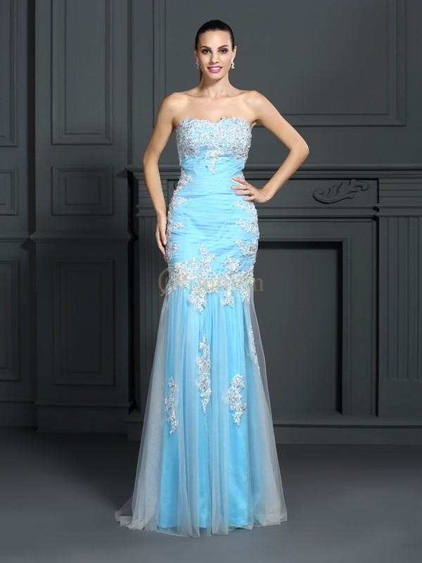 Blue Elastic Woven Satin Strapless Trumpet/Mermaid Floor-Length Dresses