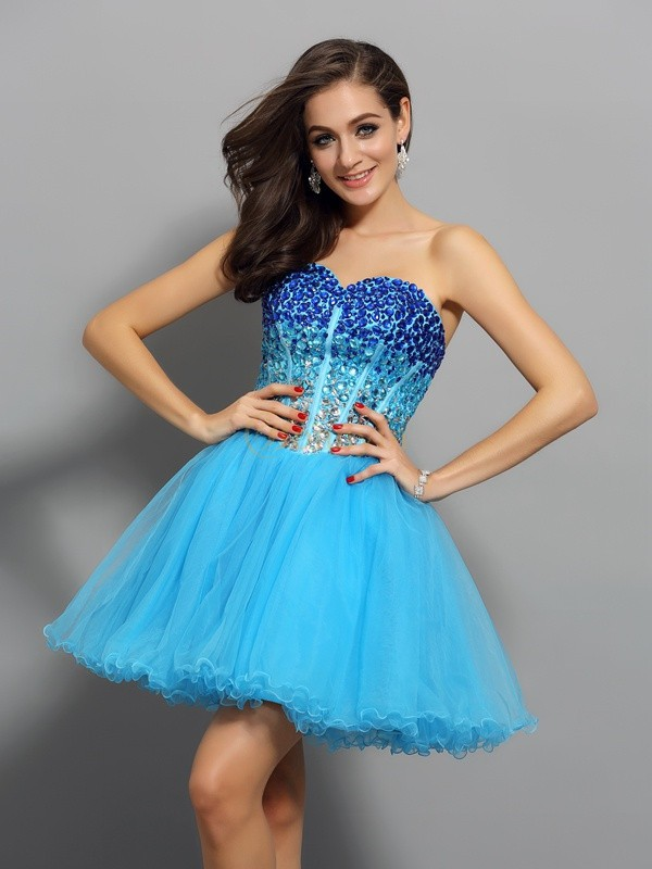 Blue Satin Sweetheart A-Line/Princess Short/Mini Dresses