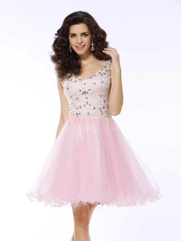 Pink Satin Sweetheart A-Line/Princess Short/Mini Dresses
