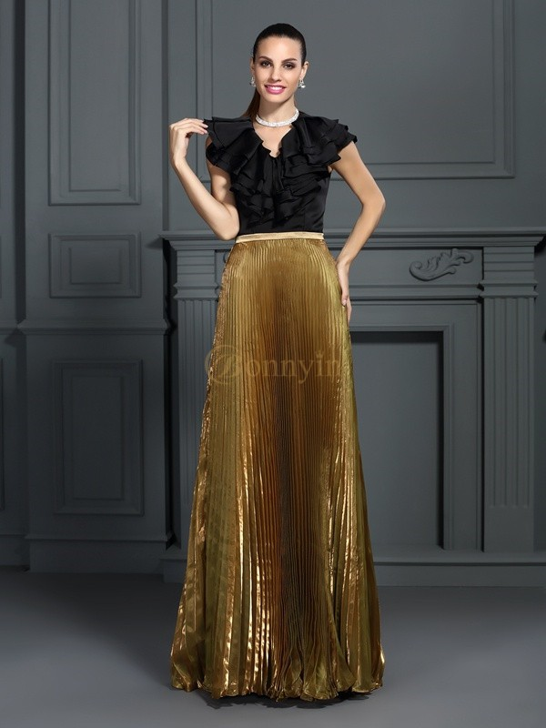 Tulle V-neck A-Line/Princess Floor-Length Dresses