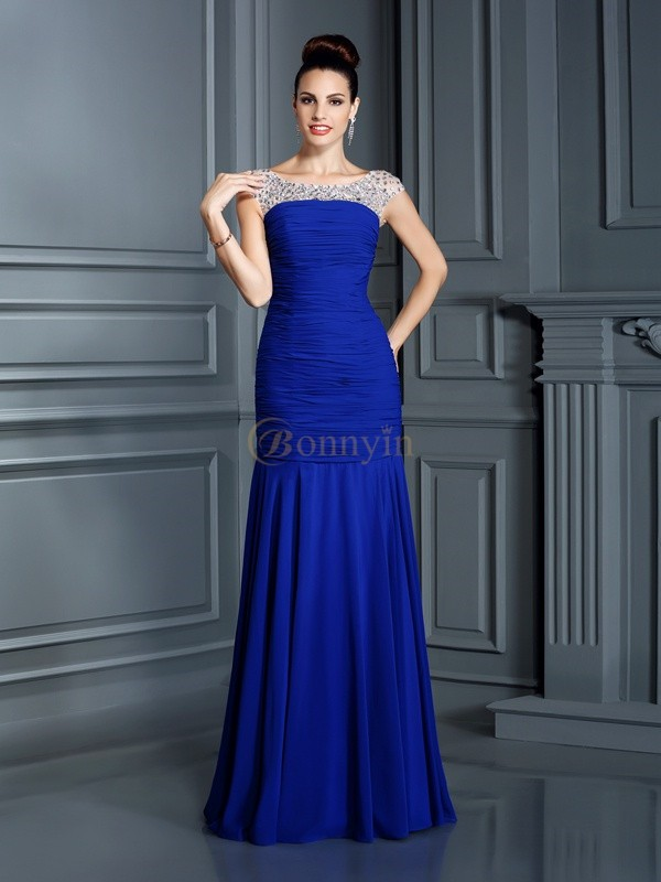 Royal Blue Chiffon Scoop Trumpet/Mermaid Floor-Length Dresses