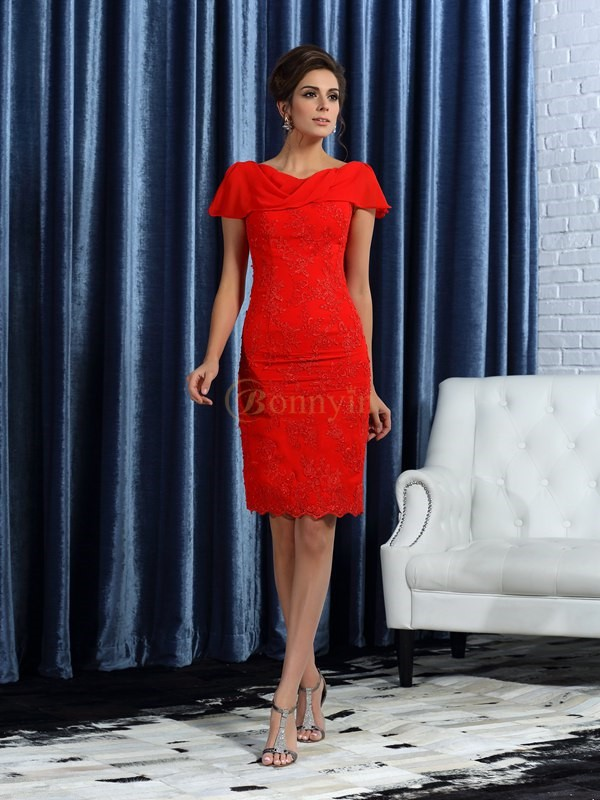 Red Satin Bateau Sheath/Column Knee-Length Mother of the Bride Dresses