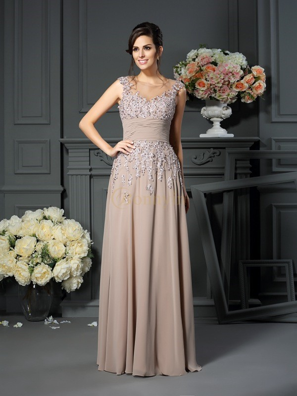 Champagne Silk like Satin Scoop A-Line/Princess Floor-Length Mother of the Bride Dresses