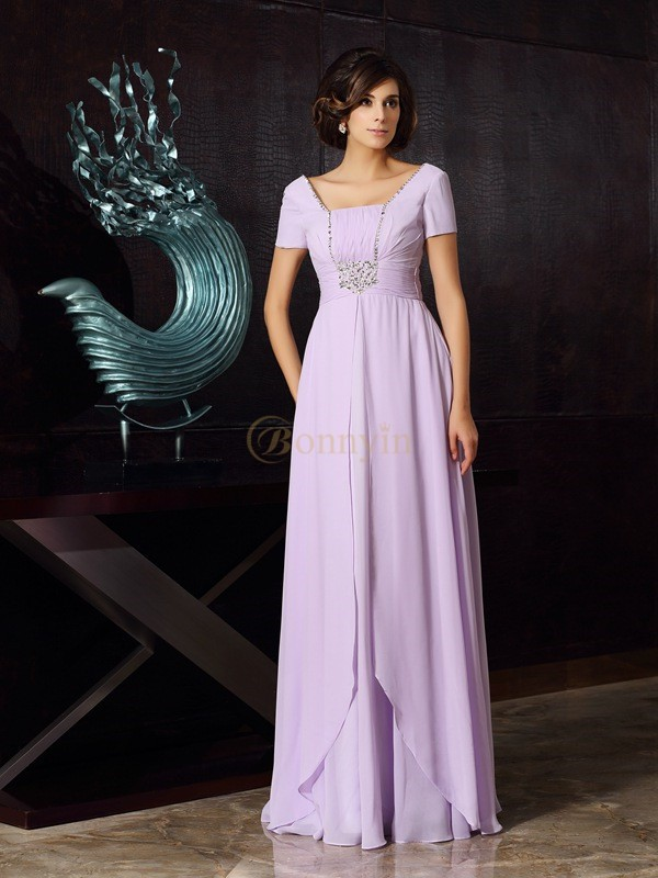 Lavender Chiffon Square A-Line/Princess Floor-Length Mother of the Bride Dresses