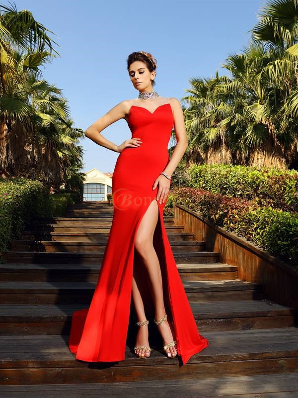 Red Spandex High Neck Sheath/Column Court Train Dresses