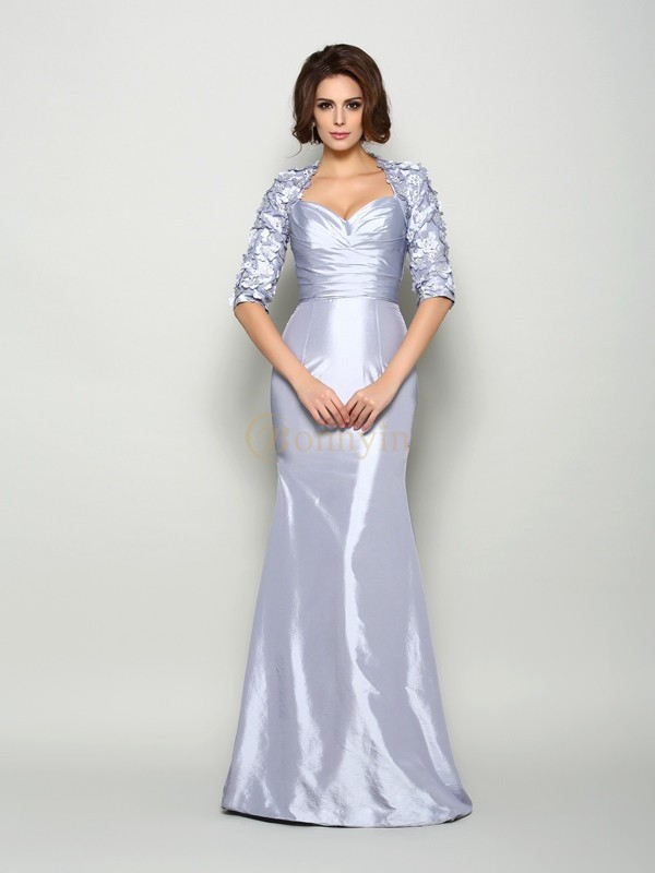 Silver Taffeta Sweetheart Trumpet/Mermaid Sweep/Brush Train Mother of the Bride Dresses