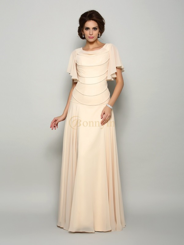 Champagne Chiffon Square A-Line/Princess Floor-Length Mother of the Bride Dresses