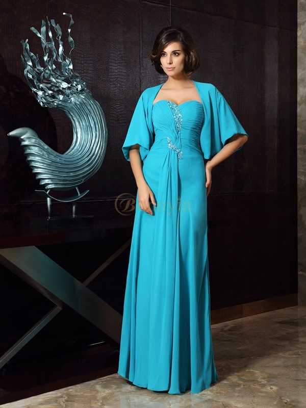 Green Chiffon Sweetheart Sheath/Column Floor-Length Mother of the Bride Dresses
