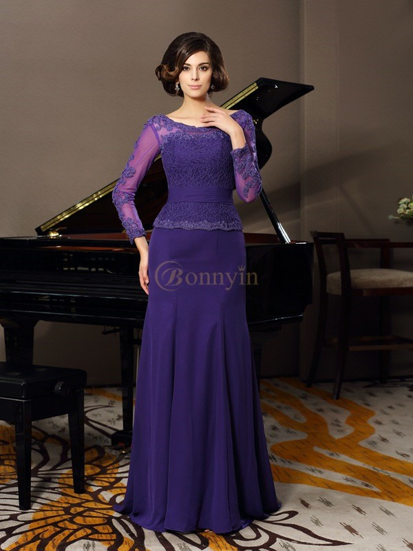 Regency Chiffon Scoop A-Line/Princess Floor-Length Mother of the Bride Dresses