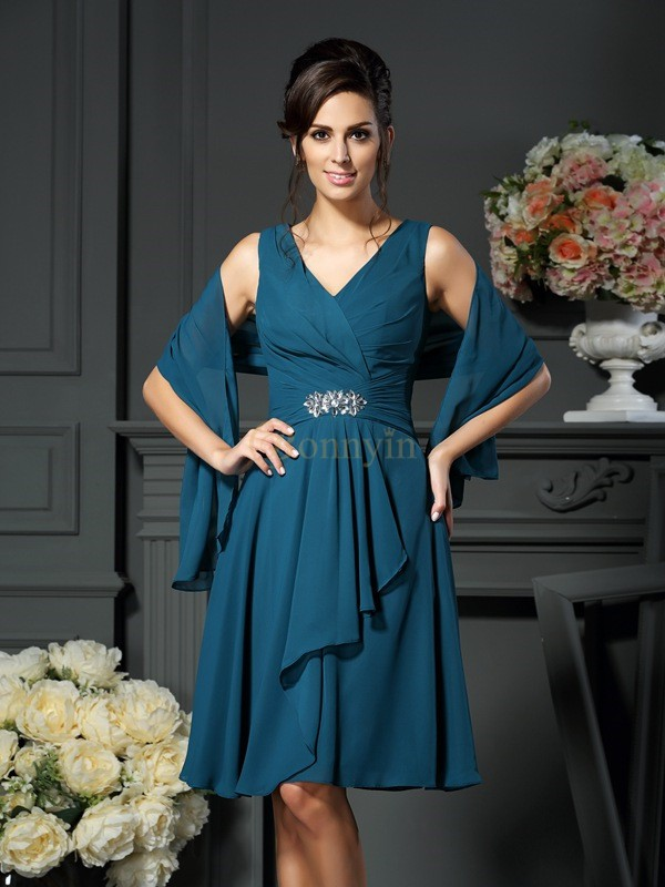 Chiffon V-neck A-Line/Princess Knee-Length Mother of the Bride Dresses