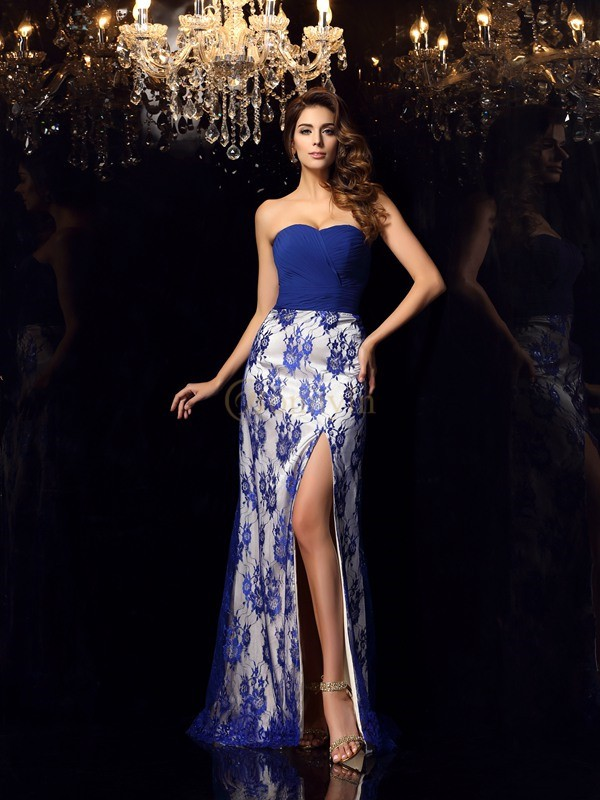 Royal Blue Elastic Woven Satin Sweetheart Sheath/Column Floor-Length Dresses
