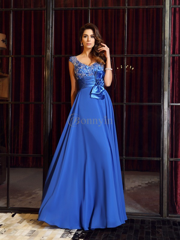 Blue Chiffon Straps A-Line/Princess Floor-Length Dresses