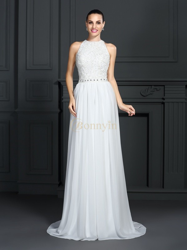 White Chiffon High Neck A-Line/Princess Sweep/Brush Train Dresses
