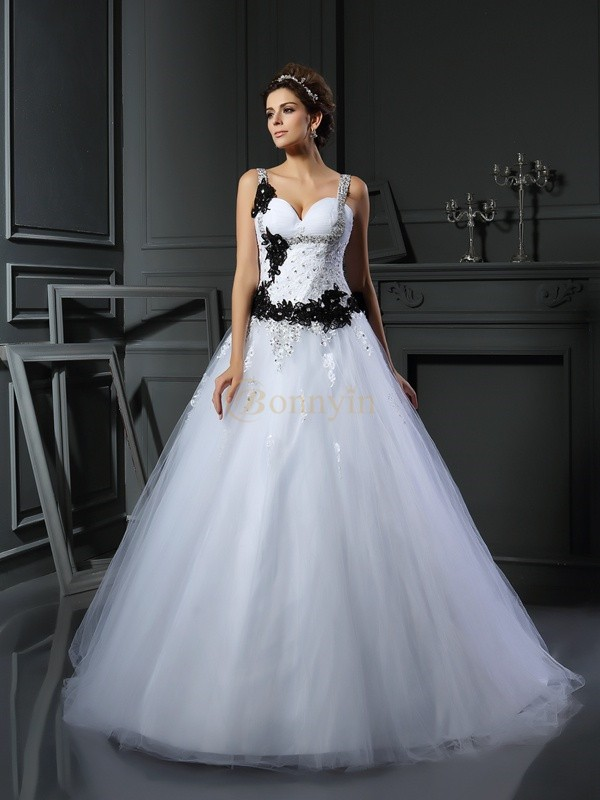 White Tulle Straps Ball Gown Chapel Train Wedding Dresses