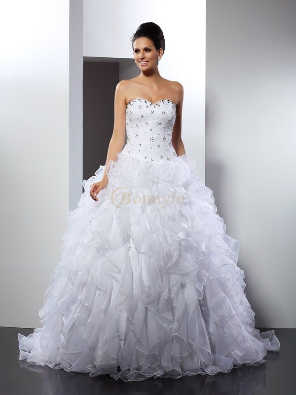 White Satin Sweetheart Ball Gown Court Train Wedding Dresses