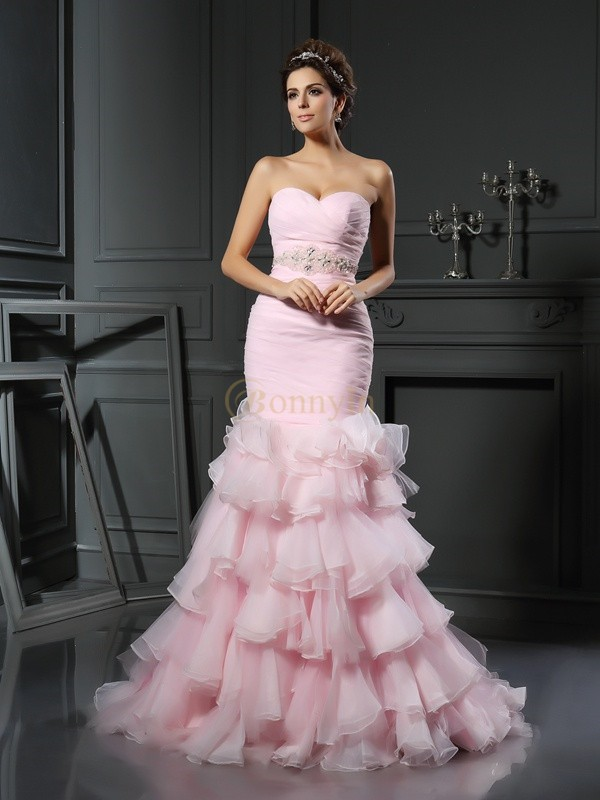 Pink Organza Sweetheart Trumpet/Mermaid Chapel Train Wedding Dresses