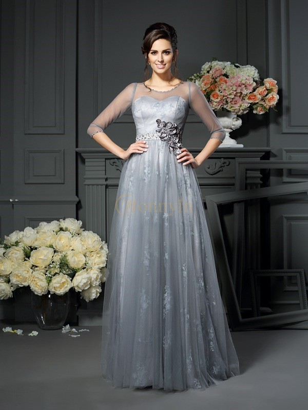 Silver Satin Scoop A-Line/Princess Floor-Length Mother of the Bride Dresses