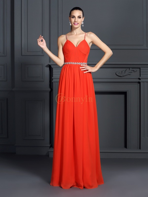 Watermelon Chiffon Spaghetti Straps A-Line/Princess Floor-Length Dresses