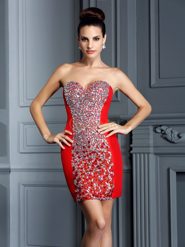 Red Taffeta Sweetheart Sheath/Column Short/Mini Dresses