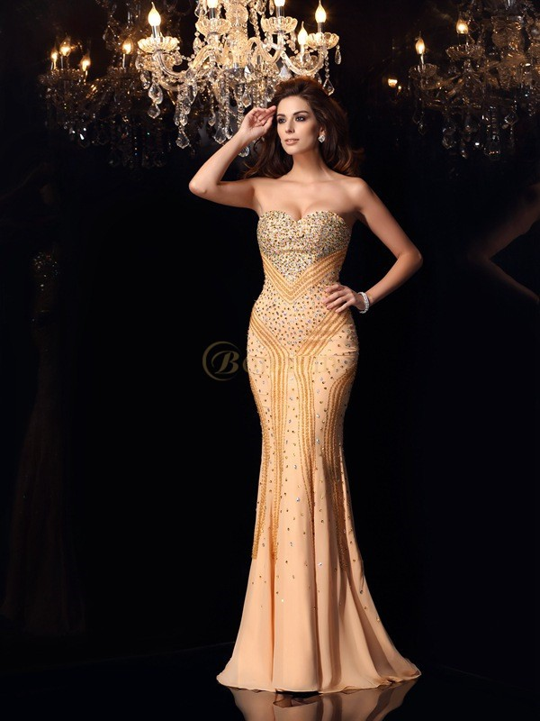 Champagne Chiffon Sweetheart Trumpet/Mermaid Sweep/Brush Train Dresses