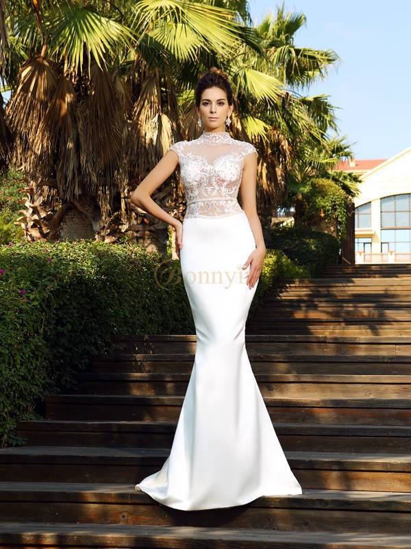 Ivory Satin High Neck Trumpet/Mermaid Court Train Dresses